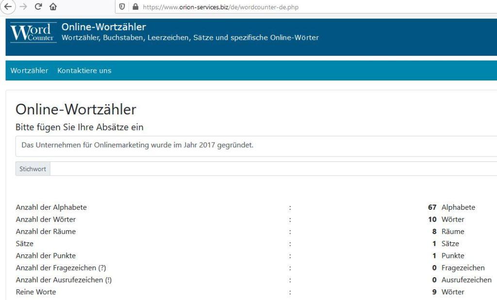 Screenshot des Online-Wortzählers von Orion-Services vom 8. Januar 2020