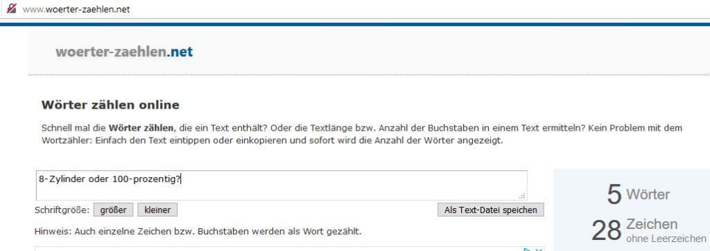Screenshot von woerter-zaehlen.net vom 8. Januar 2020